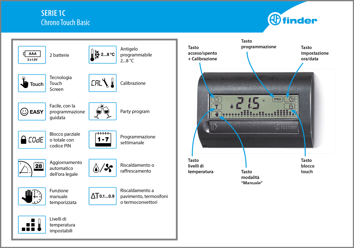 nuovo cronotermostato chrono touch basic finder
